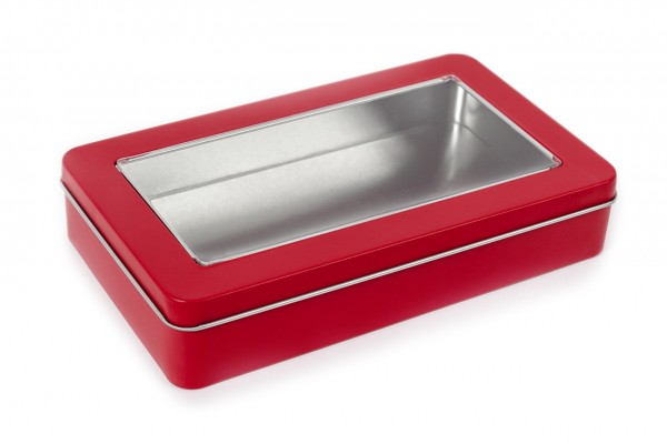Rectangular tin with sliplid and window, red