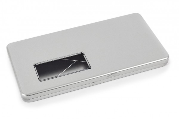 Envelope tin with hinged lid and window